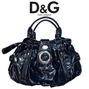 Authentic Dolce & Gabbana Black Patent Leather Shoulder Bag with Silver Accents